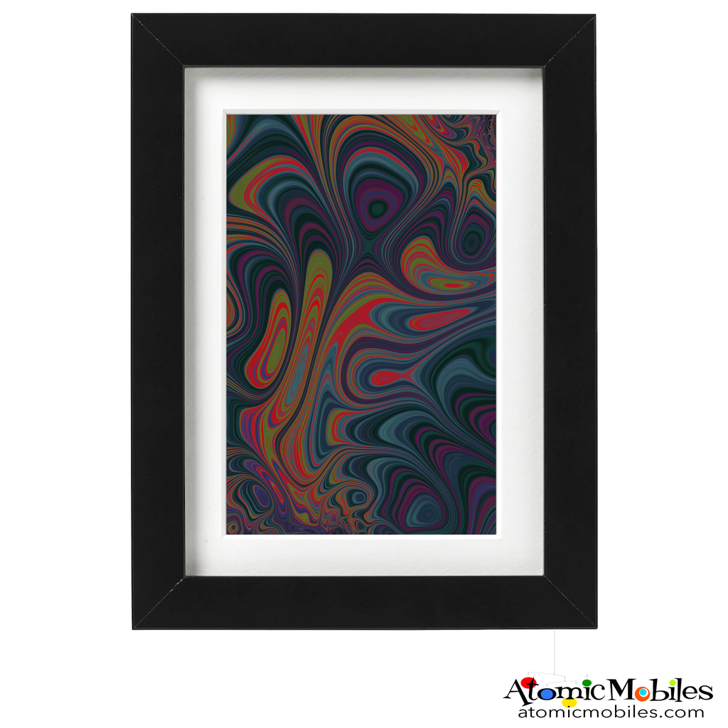 dark joy - abstract art print by artist Debra Ann of AtomicMobiles.com - dark purple, blue, red, green and purple art