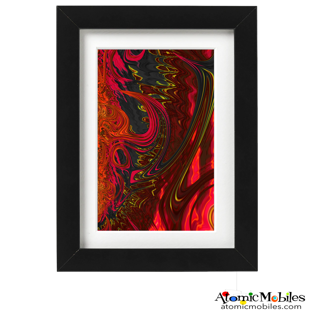 aflame abstract art print by artist Debra Ann of AtomicMobiles.com - dark red, yellow, green colorful art