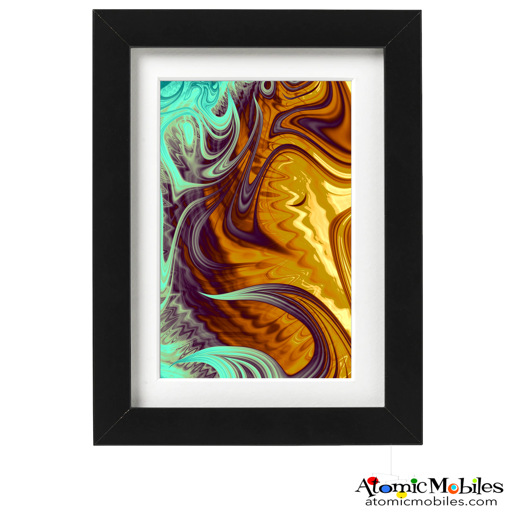apropos abstract art print by artist Debra Ann of AtomicMobiles.com - mint green, gold, purple, yellow, gray colorful art