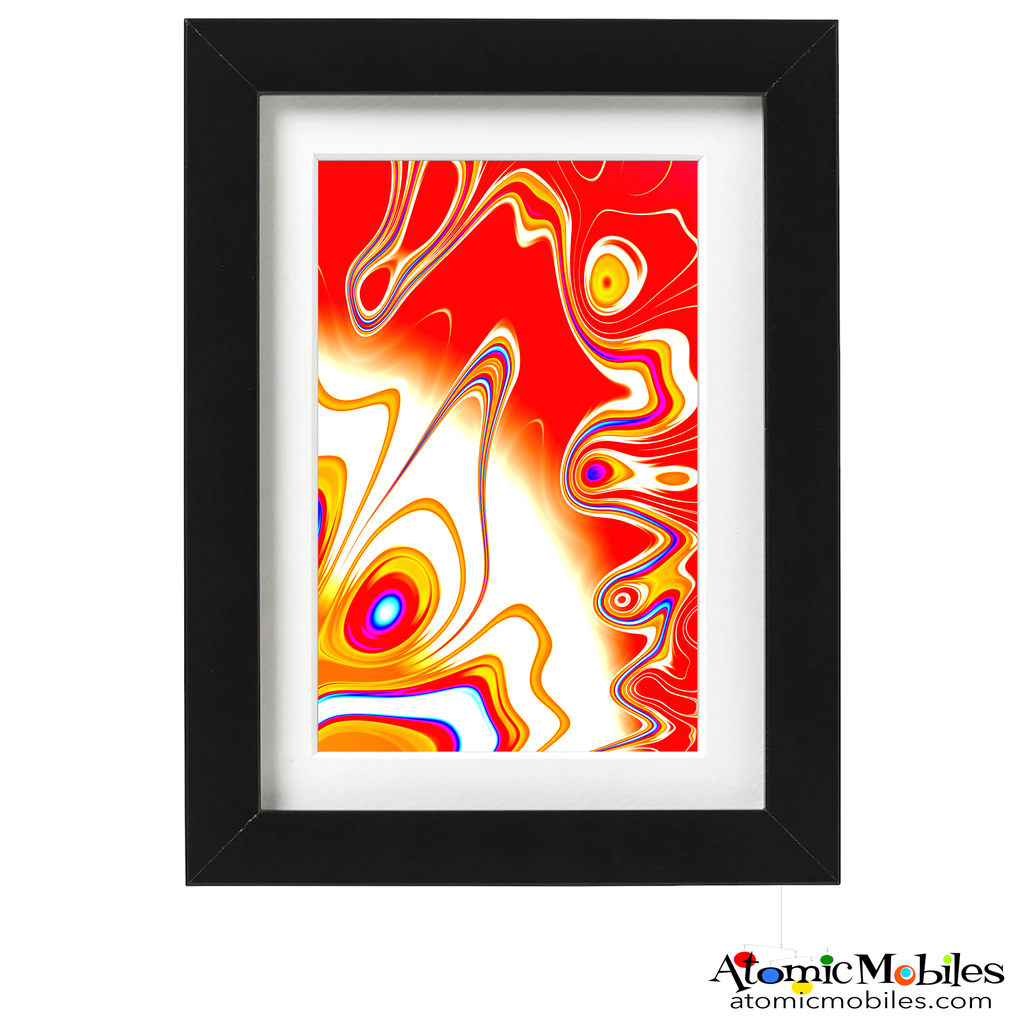 sunshine abstract art print by artist Debra Ann of AtomicMobiles.com - red, gold, blue, white colorful art