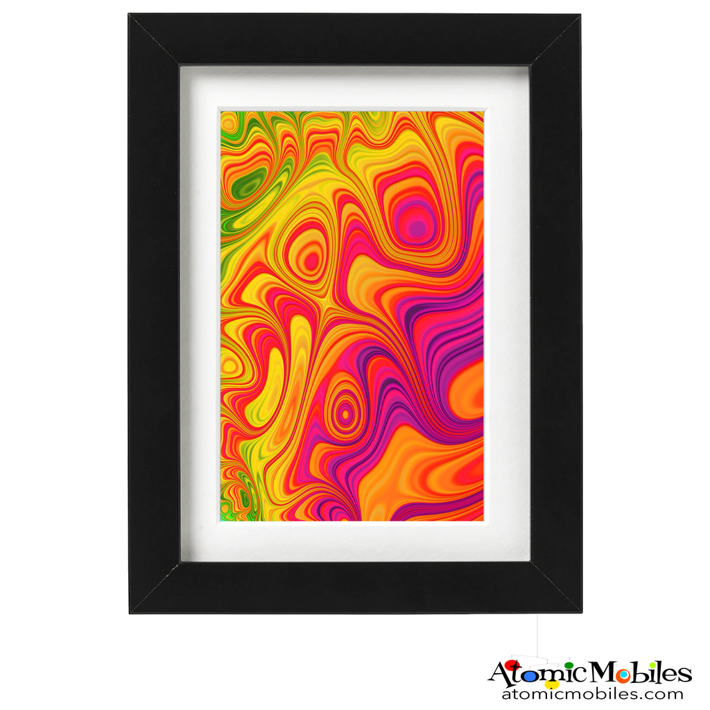 trendy abstract art print by artist Debra Ann of AtomicMobiles.com - red, pink, blue, green, yellow colorful art