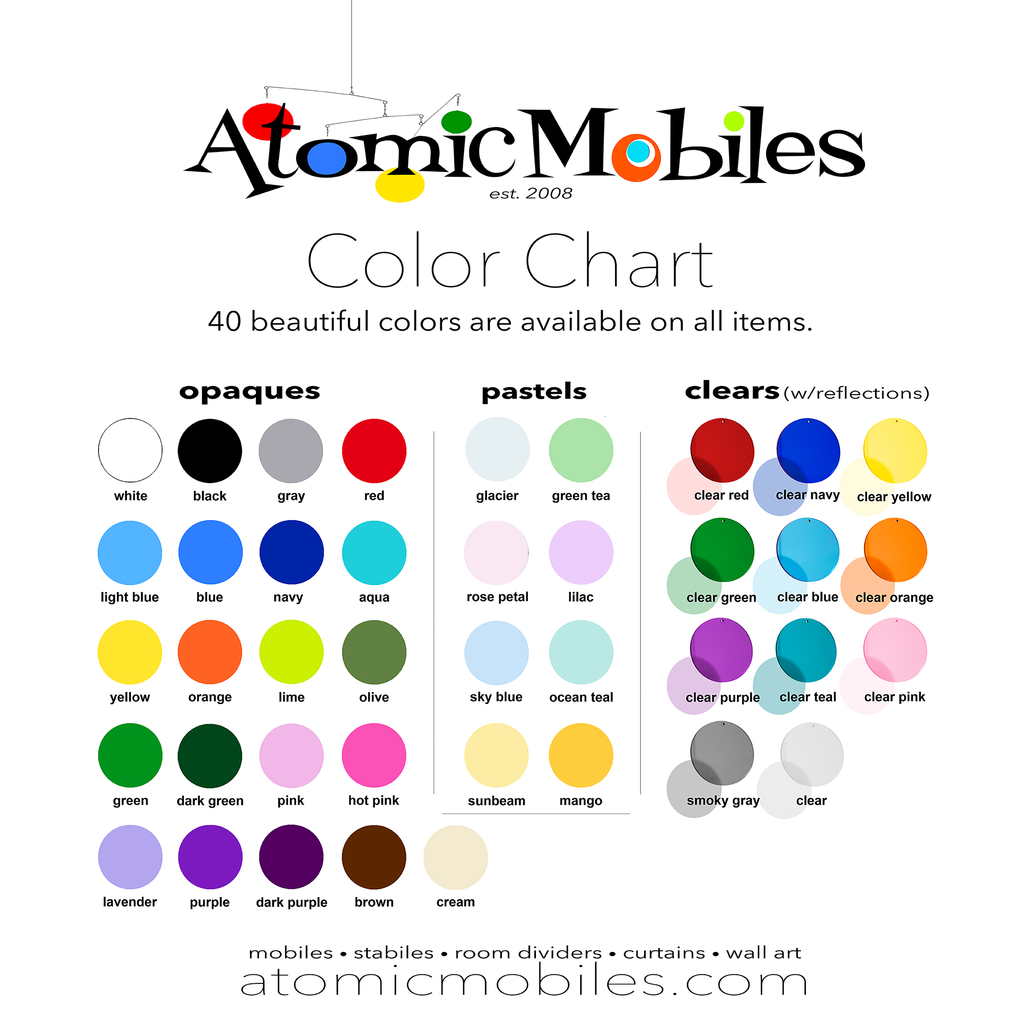 Color Chart of 40 beautiful colors for CoolCat Kinetic Hanging Art Mobiles by AtomicMobiles.com