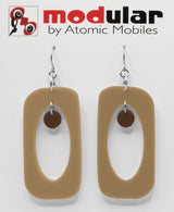 MODular Earrings - Beatnik Boho Statement Earrings in Beige Tan and Brown by AtomicMobiles.com - retro era inspired mod handmade jewelry