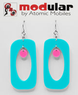 MODular Earrings - Beatnik Boho Statement Earrings in Aqua and Hot Pink by AtomicMobiles.com - retro era inspired mod handmade jewelry