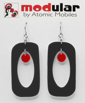 MODular Earrings - Beatnik Boho Statement Earrings in Black and Red by AtomicMobiles.com - retro era inspired mod handmade jewelry