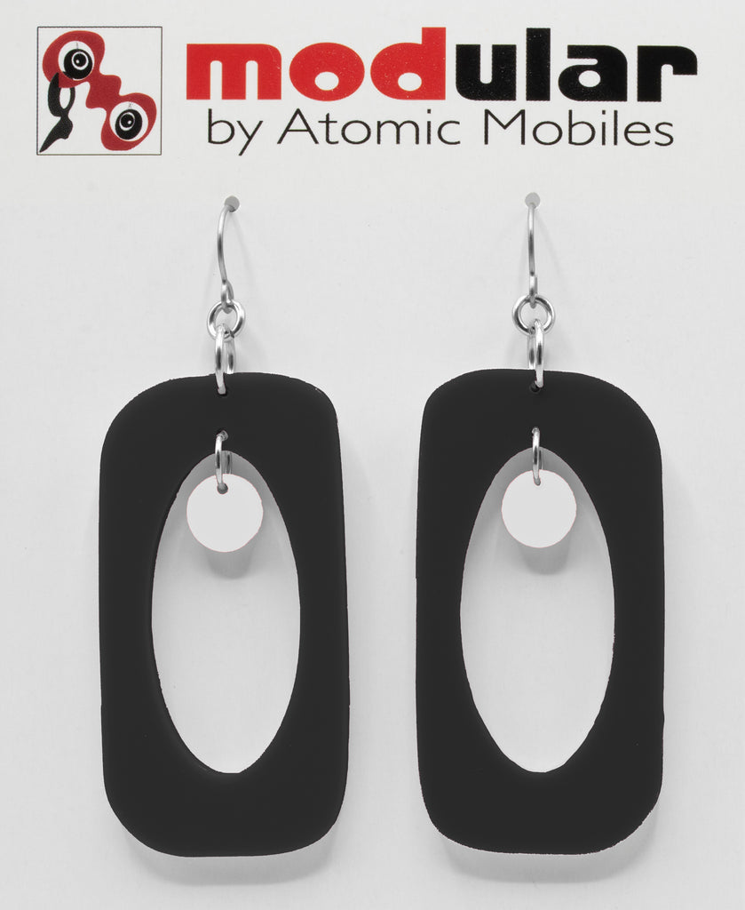 MODular Earrings - Beatnik Boho Statement Earrings in Black and White by AtomicMobiles.com - retro era inspired mod handmade jewelry
