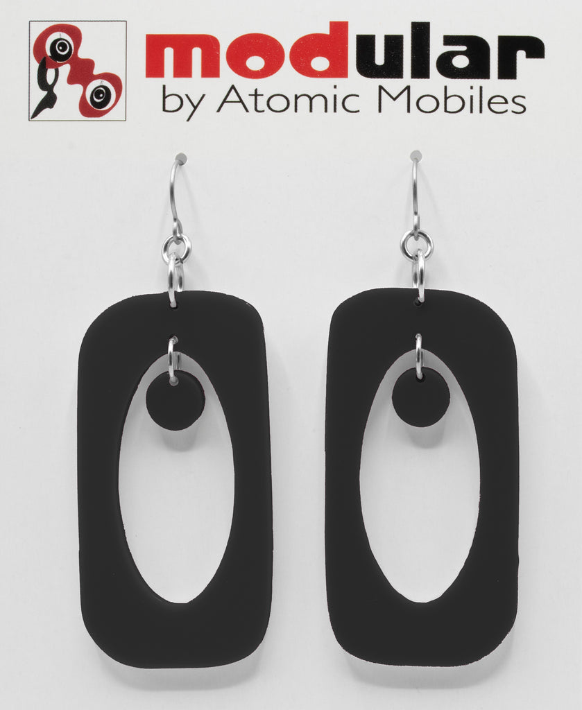 Beatnik Boho Atomic Earrings in Black by AtomicMobiles.com in Bewitching Black - mod retro midcentury inspired jewelry