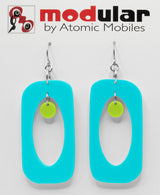 MODular Earrings - Beatnik Boho Statement Earrings in Aqua and Lime - Palm Springs Colors - by AtomicMobiles.com - retro era inspired mod handmade jewelry