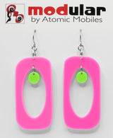 MODular Earrings - Beatnik Boho Statement Earrings in Hot Pink and Lime by AtomicMobiles.com - retro era inspired mod handmade jewelry