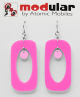 MODular Earrings - Beatnik Boho Statement Earrings in Hot Pink by AtomicMobiles.com - retro era inspired mod handmade jewelry