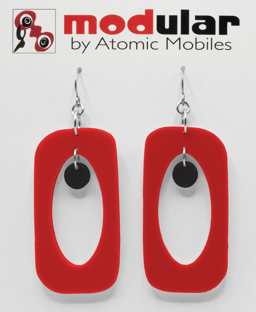 MODular Earrings - Beatnik Boho Statement Earrings in Red and Black by AtomicMobiles.com - retro era inspired mod handmade jewelry
