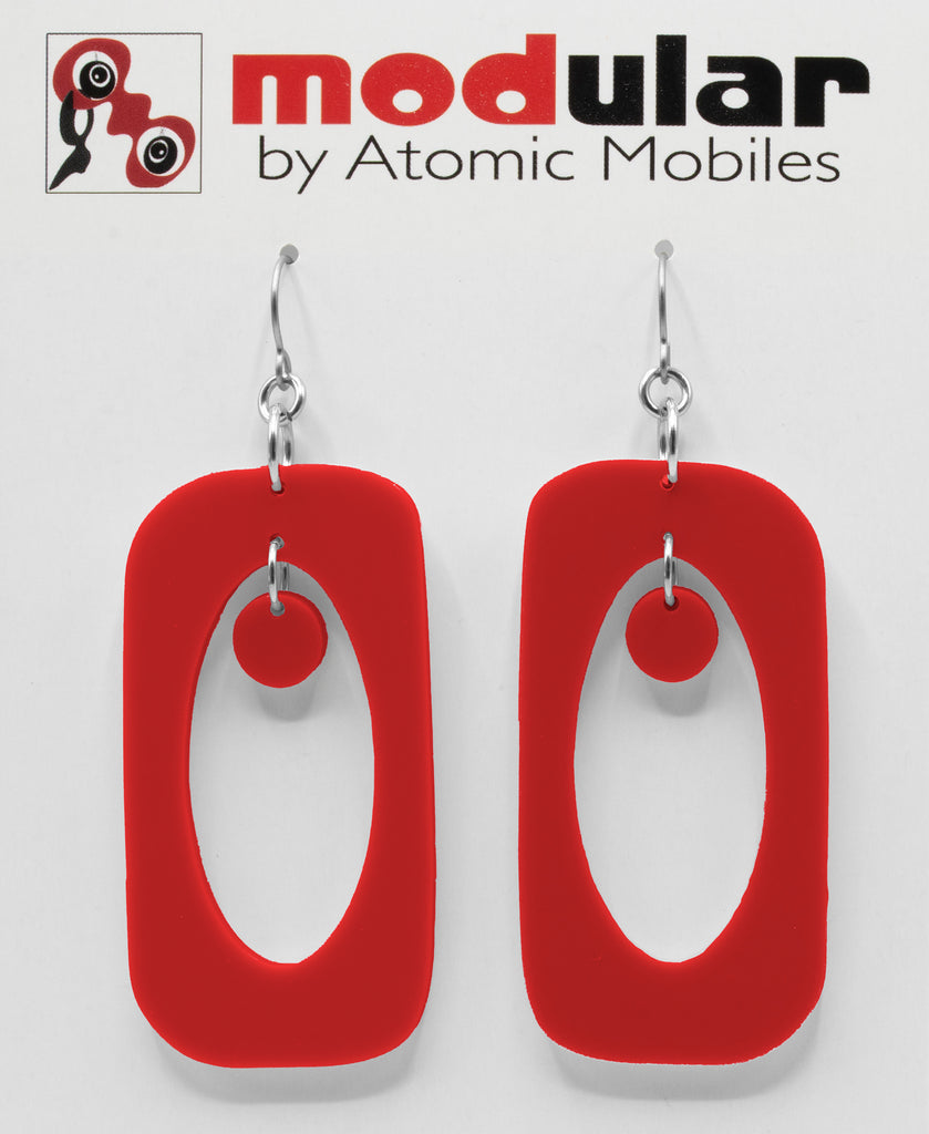 Beatnik Boho Atomic Earrings in Red by AtomicMobiles.com in Ravishing Red - mod retro midcentury inspired jewelry