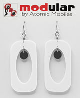 MODular Earrings - Beatnik Boho Statement Earrings in White and Black by AtomicMobiles.com - retro era inspired mod handmade jewelry