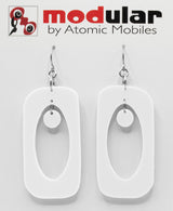 Beatnik Boho Atomic Earrings in White by AtomicMobiles.com in Wistful White - mod retro midcentury inspired jewelry