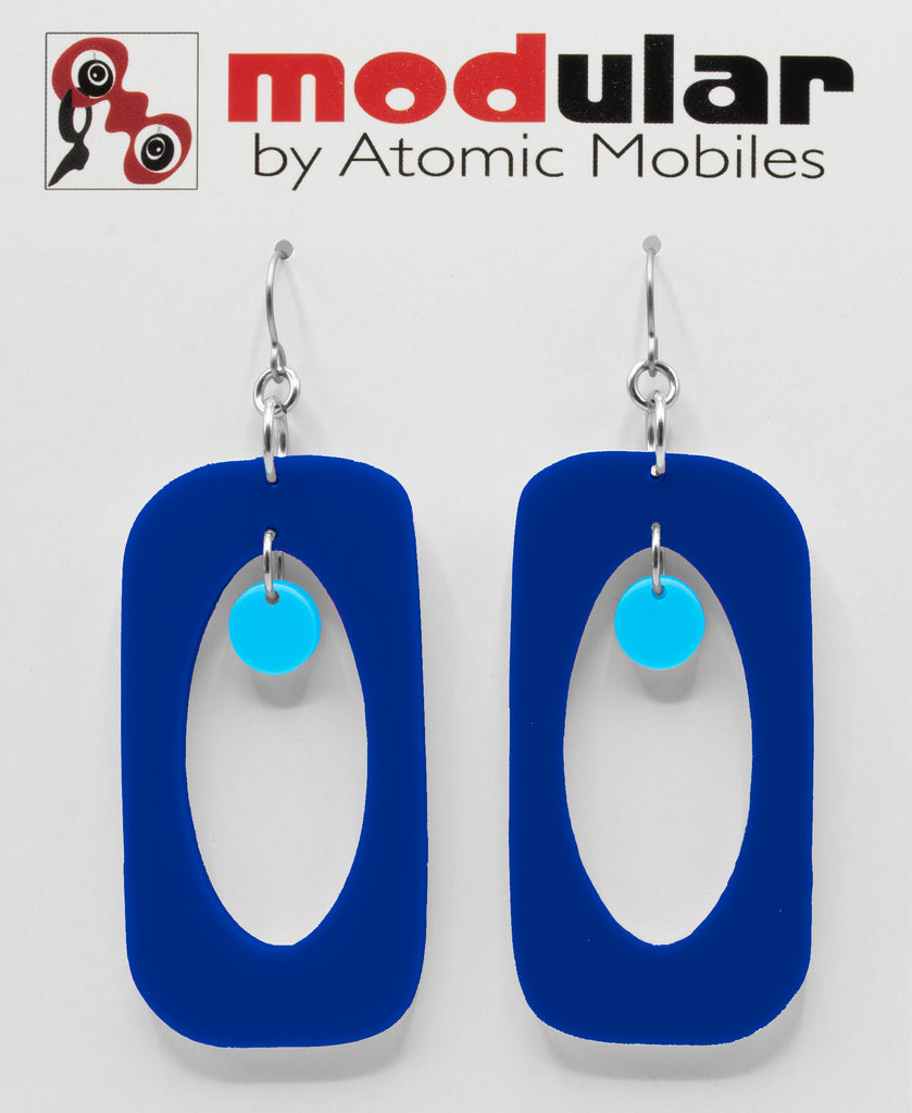 MODular Earrings - Beatnik Boho Statement Earrings in Navy and Blue by AtomicMobiles.com - retro era inspired mod handmade jewelry