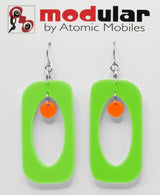 MODular Earrings - Beatnik Boho Statement Earrings in Lime and Orange - Palm Springs Colors - by AtomicMobiles.com - retro era inspired mod handmade jewelry