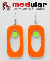MODular Earrings - Beatnik Boho Statement Earrings in Orange and Lime - Palm Springs Colors - by AtomicMobiles.com - retro era inspired mod handmade jewelry