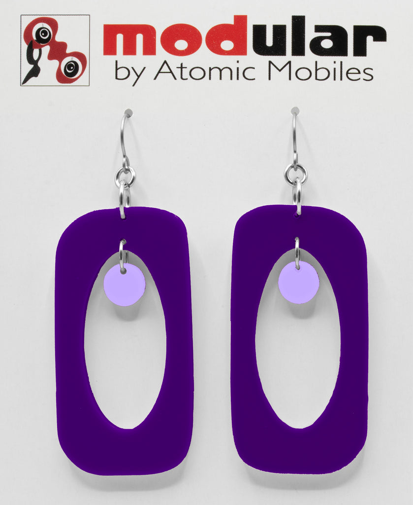 MODular Earrings - Beatnik Boho Statement Earrings in Purple by AtomicMobiles.com - retro era inspired mod handmade jewelry