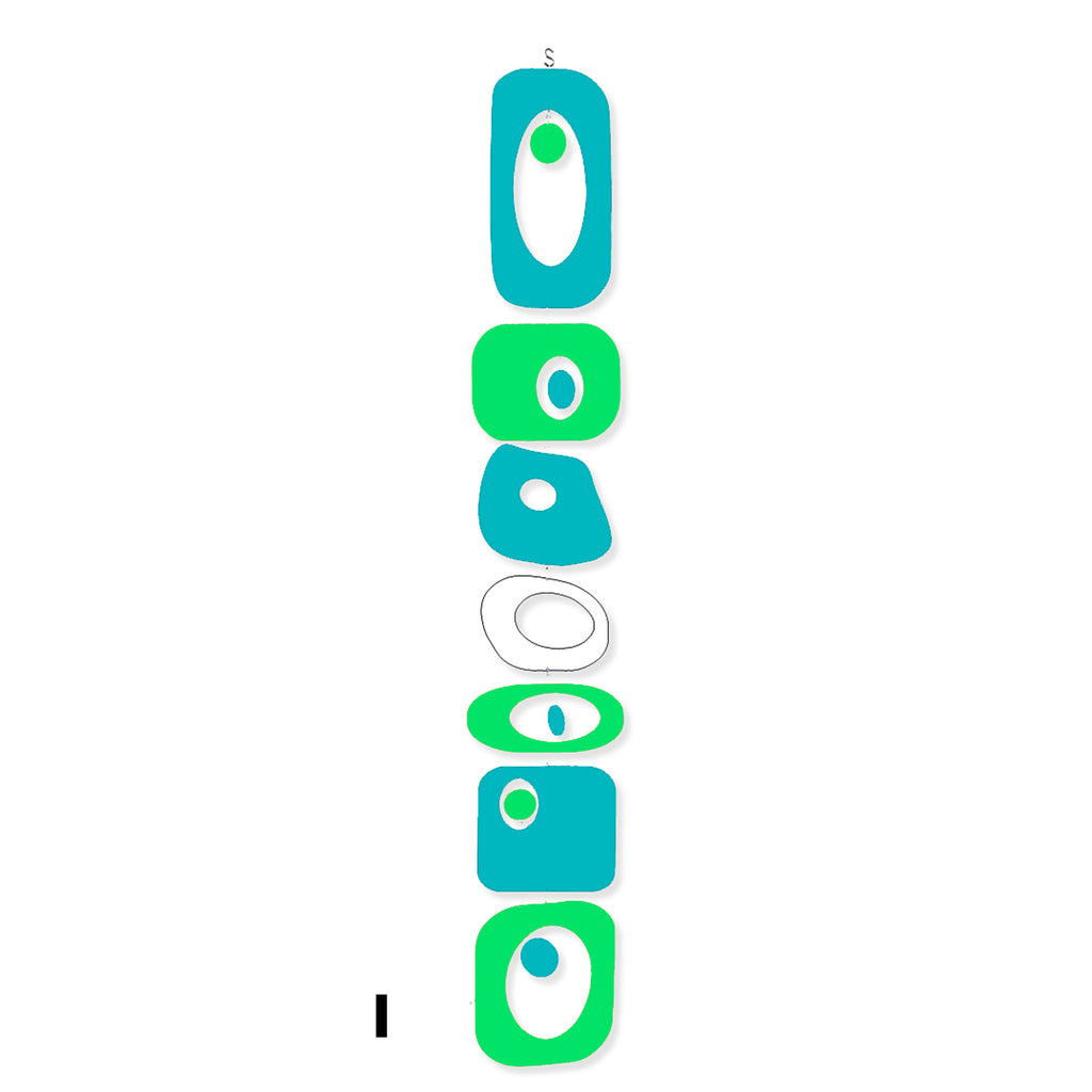 Beatnik Party Retro Mod Hanging Art Mobile in Aqua Lime White - Verticals by AtomicMobiles.com