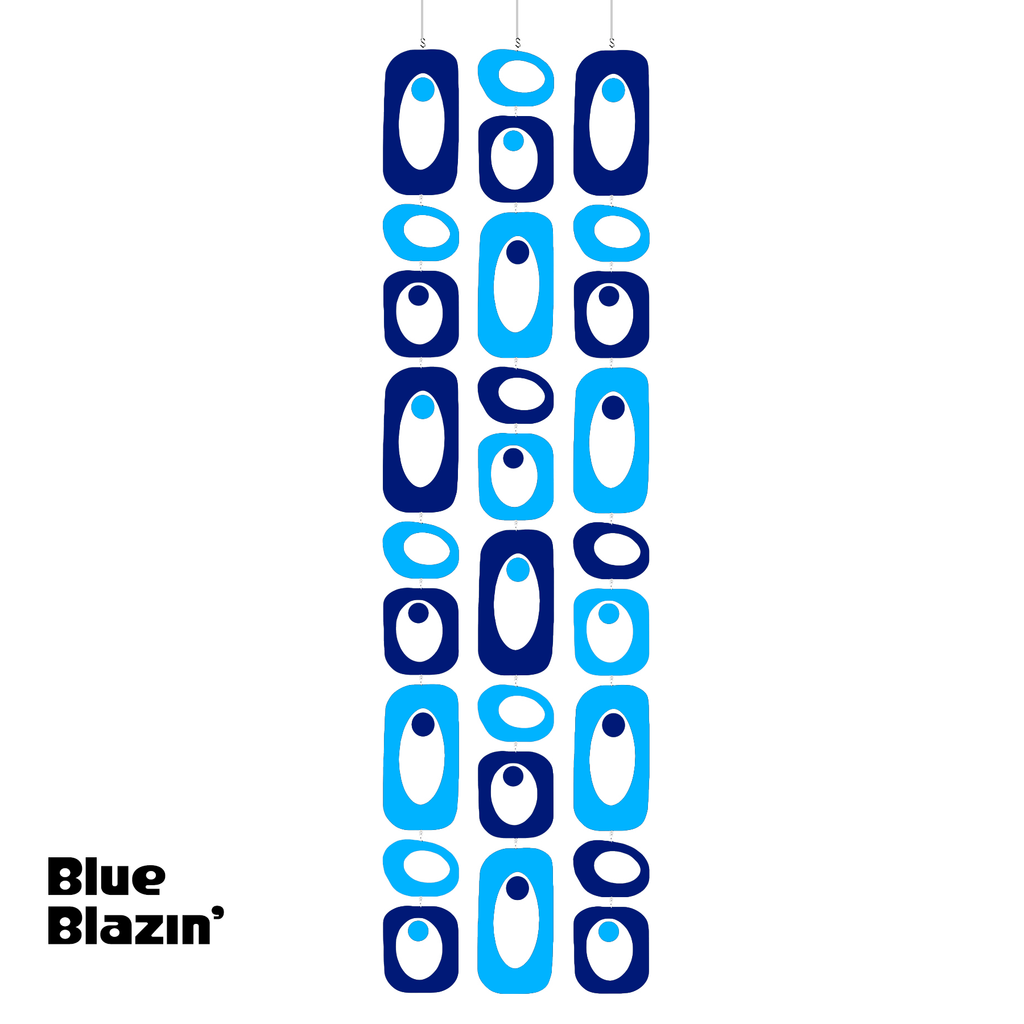 Beatnik Party BLUE BLAZIN' Navy Blue and Medium Blue Atomic Room Divider Screen DIY Kit by AtomicMobiles.com