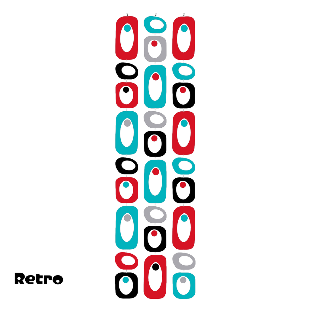 Beatnik Party RETRO Mid Century Modern Red, Aqua Blue, Black, and Gray Atomic Room Divider Screen Kit in plexiglass acrylic by AtomicMobiles.com