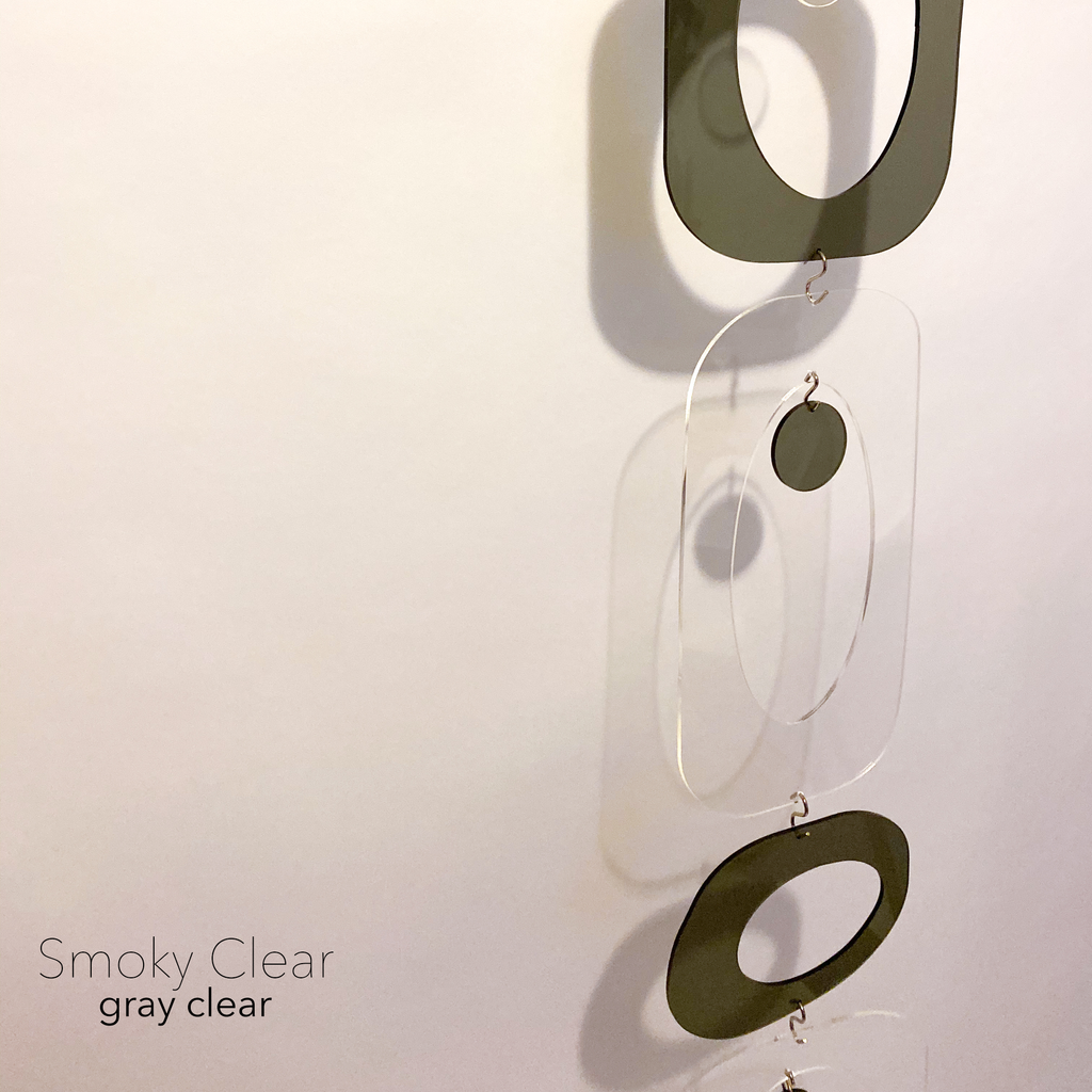 Smoky gray and clear DIY Atomic Kits  - hanging art mobiles, curtains, room dividers, screens by AtomicMobiles.com