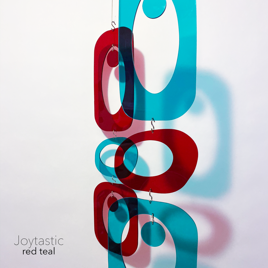 Gorgeous red and teal DIY Atomic Kits - hanging art mobiles, curtains, room dividers, screens by AtomicMobiles.com