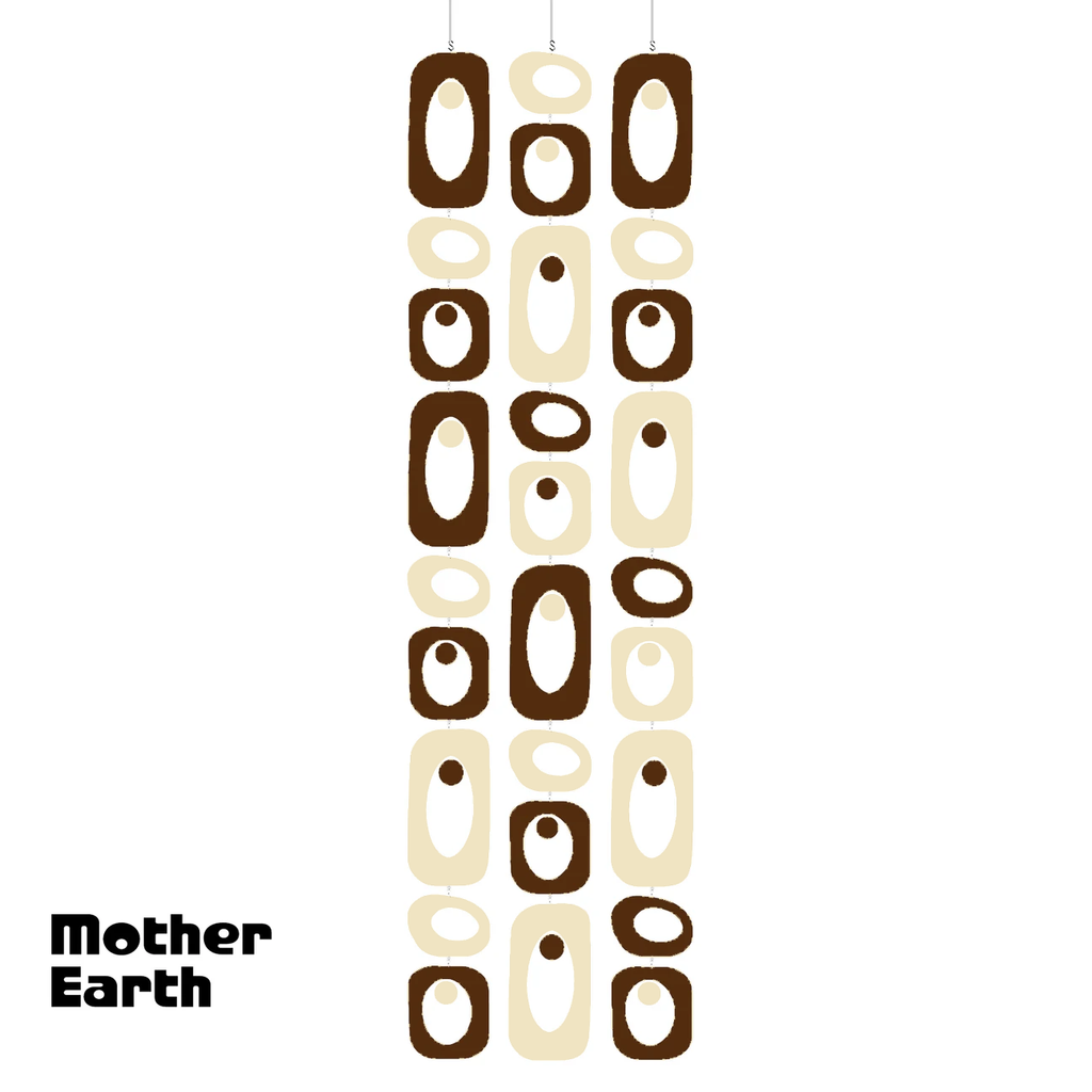 MOTHER EARTH Brown and Cream Beatnik Party Atomic Room Divider Screen DIY Kit by AtomicMobiles.com