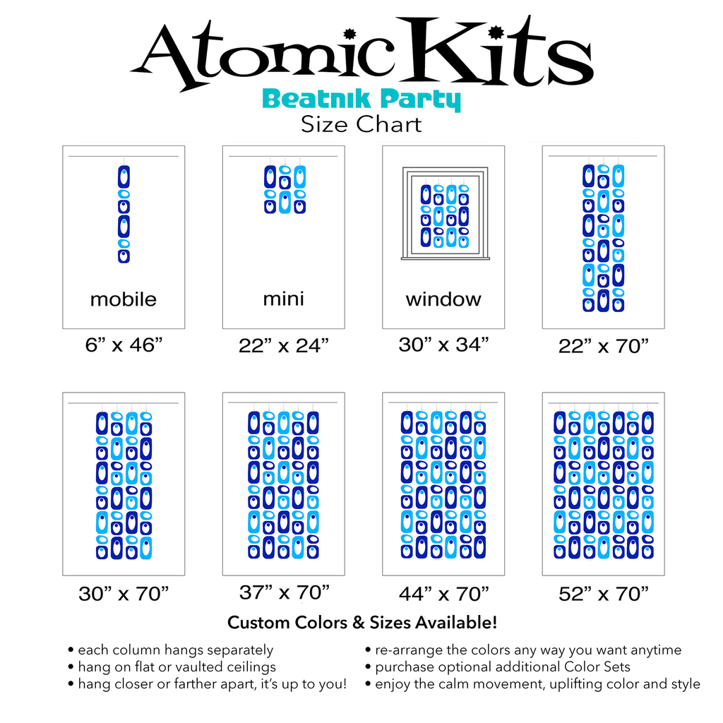 Size Chart for BLUE BLAZIN' Blue and Navy Blue Beatnik Party Room Dividers, Curtains, Mobiles, and Wall Art DIY KIT by AtomicMobiles.com