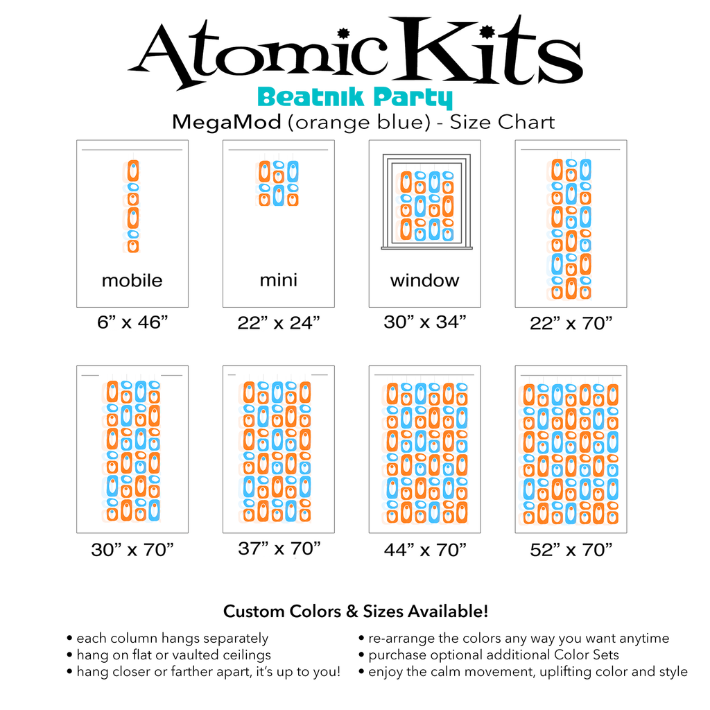 Color Chart for pretty orange and blue DIY Atomic Kits - hanging art mobiles, curtains, room dividers, screens by AtomicMobiles.com