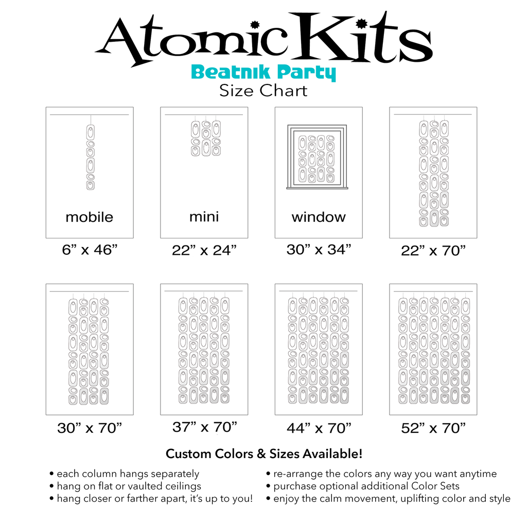 Size Chart for DIGGIN IT White Beatnik Party Room Dividers, Curtains, Mobiles, and Wall Art DIY KIT by AtomicMobiles.com