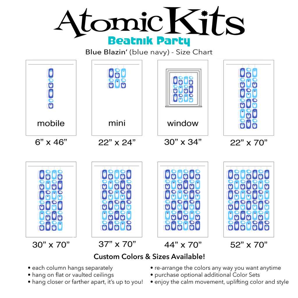 Color Chart for beautiful blue and navy DIY Atomic Kits - Mid Century Modern retro hanging art mobiles, curtains, room dividers, screens by AtomicMobiles.com