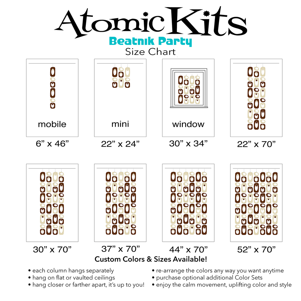 Color Chart for brown and cream color plexiglass acrylic room dividers, mobiles, and curtains by AtomicMobiles.com
