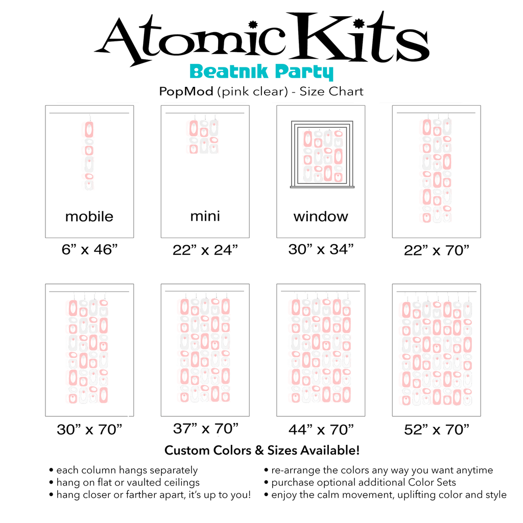 Color Chart for pretty pink and clear DIY Atomic Kits - hanging art mobiles, curtains, room dividers, screens by AtomicMobiles.com