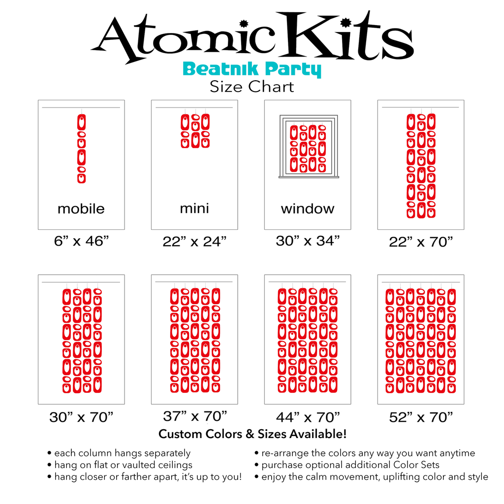Size Chart for RED Beatnik Party Room Dividers, Curtains, Mobiles, and Wall Art DIY KIT by AtomicMobiles.com
