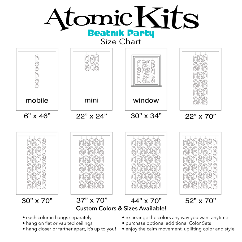 Size Chart POPMod Clear Acrylic Beatnik Party Room Dividers, Curtains, Mobiles, and Wall Art DIY KIT by AtomicMobiles.com