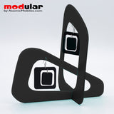 Handmade Coolsville mod style earrings and stabile kinetic modern art sculpture in Black by AtomicMobiles.com