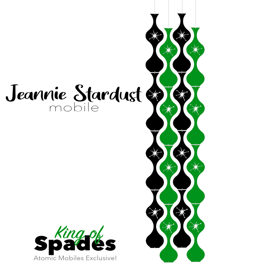 King of Spades Jeannie Stardust Hanging Art Mobile - mid century modern home decor in Green and Black - by AtomicMobiles.com