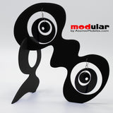 Handmade Groovy style earrings and stabile kinetic modern art sculpture in Black by AtomicMobiles.com