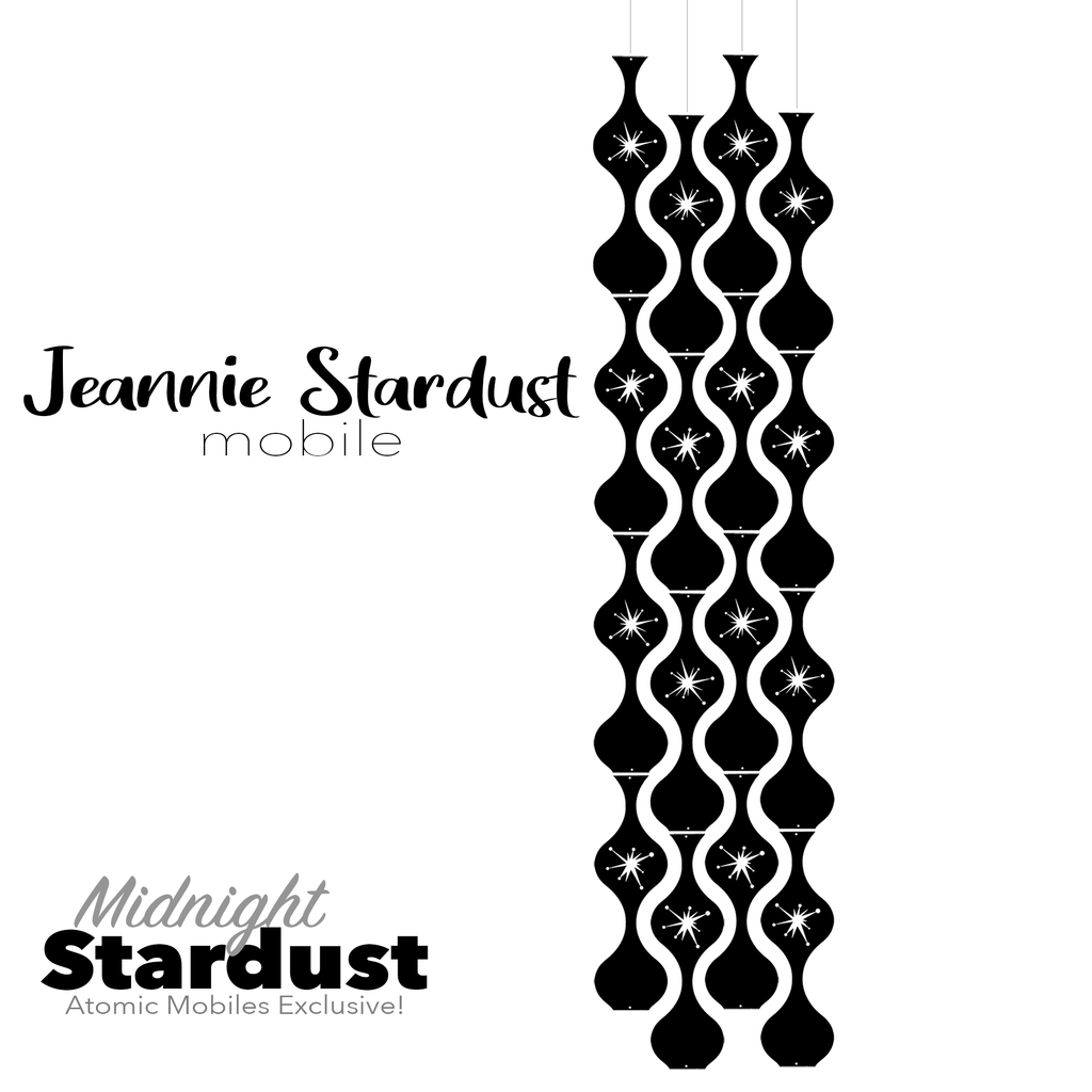 Midnight Stardust Jeannie Stardust Hanging Art Mobile - mid century modern home decor in Black - by AtomicMobiles.com
