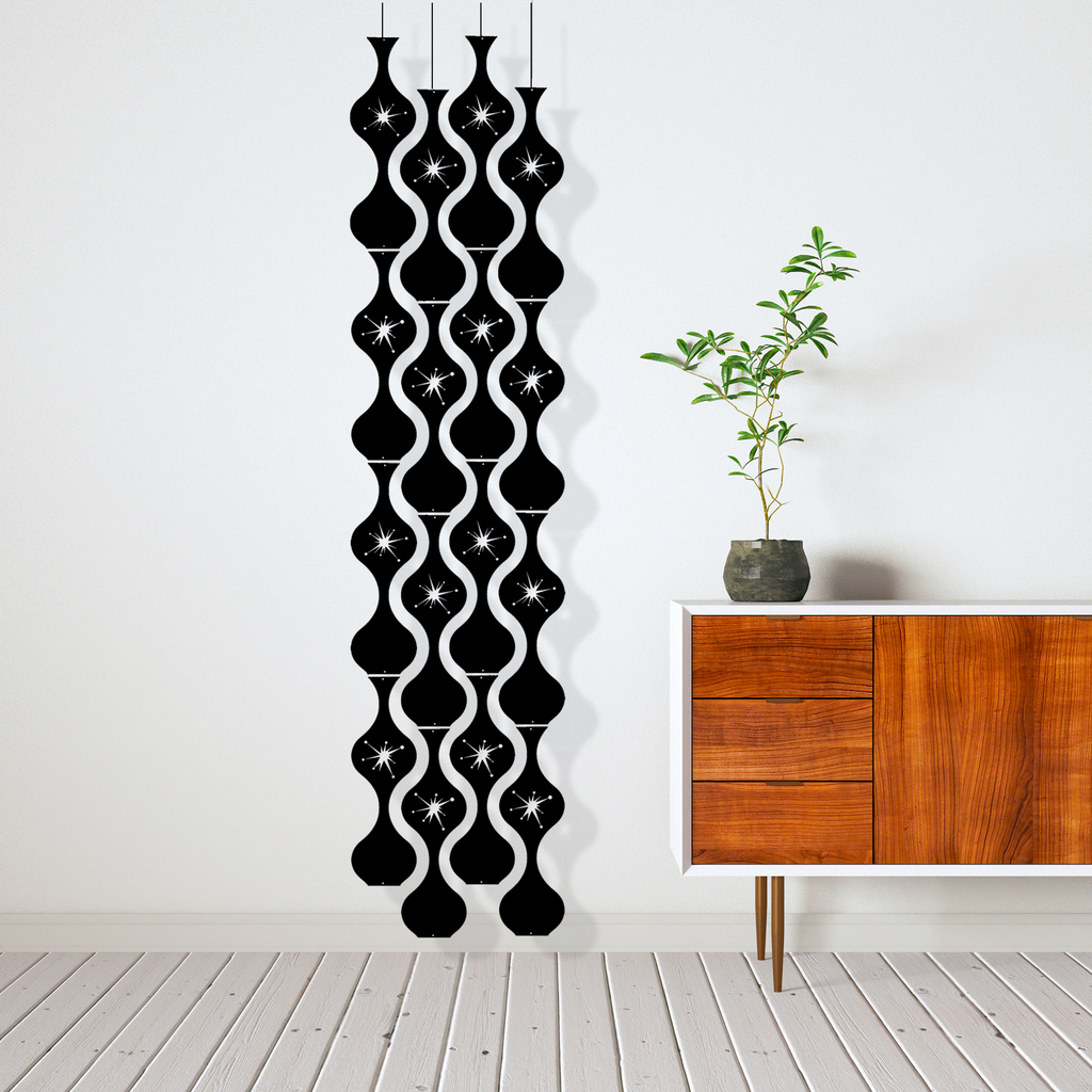 Jeannie Stardust Mid Century Modern black retro room divider panels DIY Kit next to modern credenza - by AtomicMobiles.com