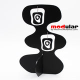Handmade Mid Mod retro midcentury style earrings and stabile kinetic modern art sculpture in Black by AtomicMobiles.com