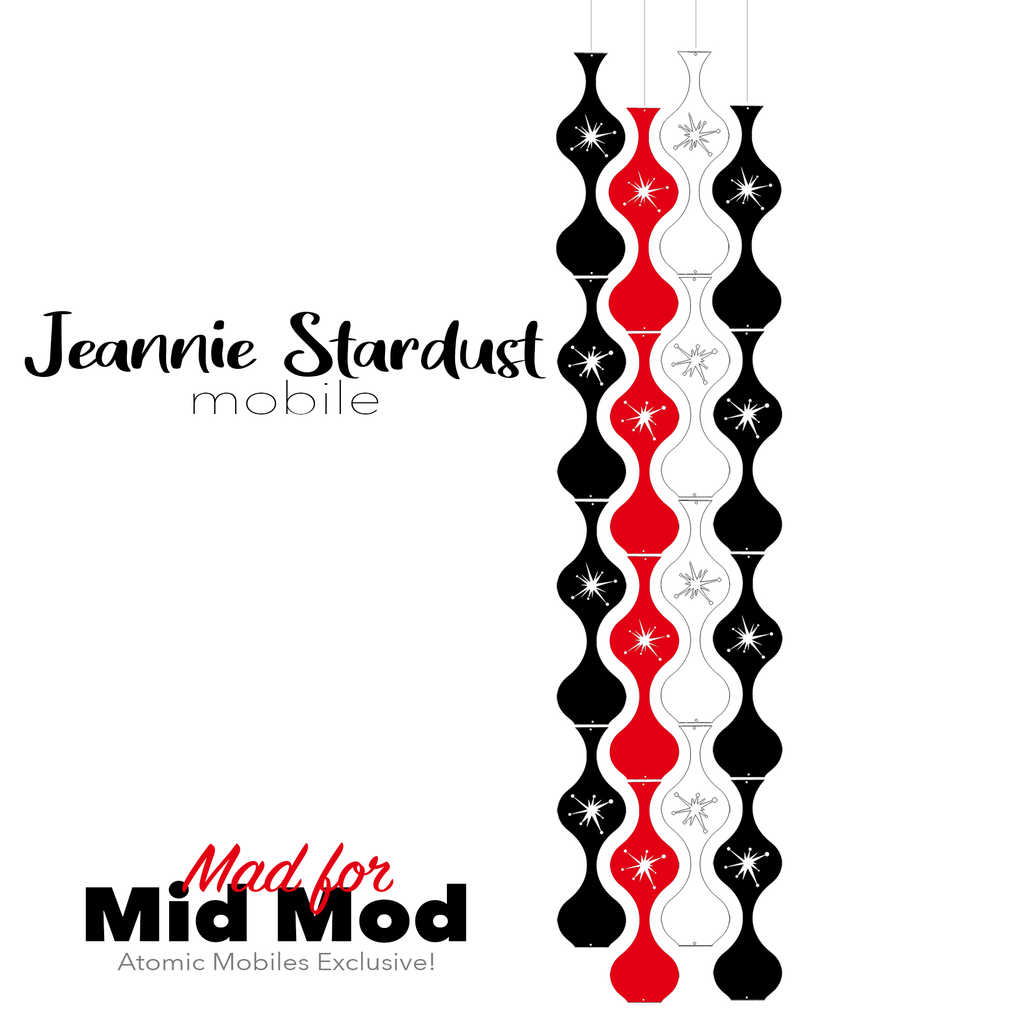 Mad for Mid Mod Jeannie Stardust Hanging Art Mobile - mid century modern home decor in Black Red and White - by AtomicMobiles.com