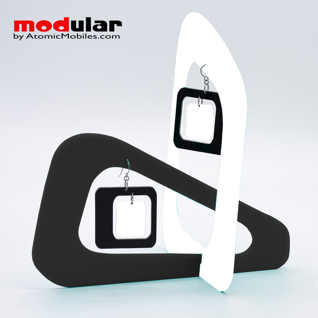 Handmade Coolsville mod style earrings and stabile kinetic modern art sculpture in White and Black by AtomicMobiles.com