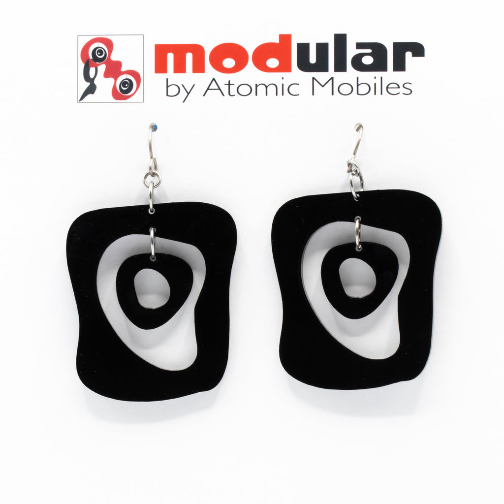 MODular Earrings - Mid Mod Statement Earrings in Black by AtomicMobiles.com - mid century inspired modern art dangle earrings