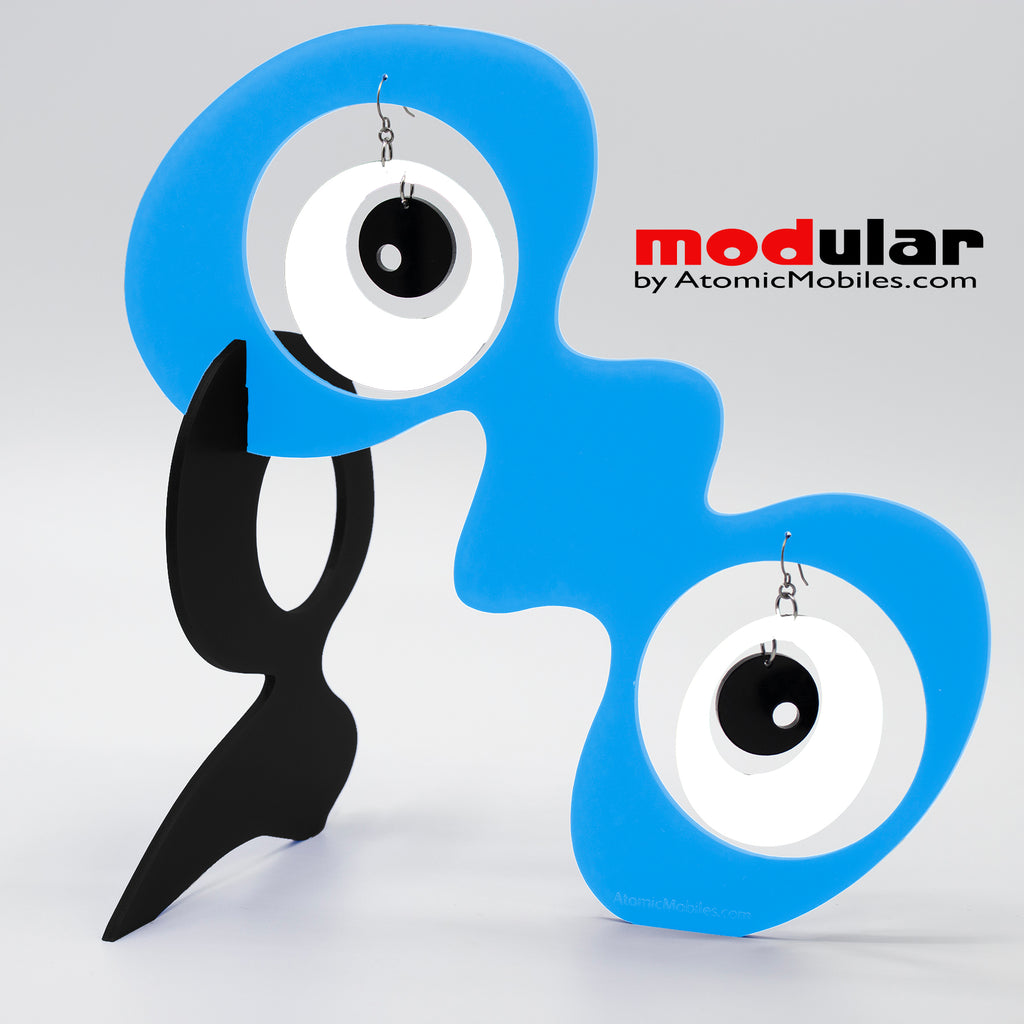 Handmade Groovy style earrings and stabile kinetic modern art sculpture in Blue Black and White by AtomicMobiles.com
