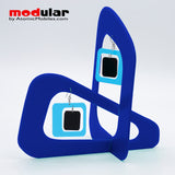 Handmade Coolsville mod style earrings and stabile kinetic modern art sculpture in Blue and Black by AtomicMobiles.com