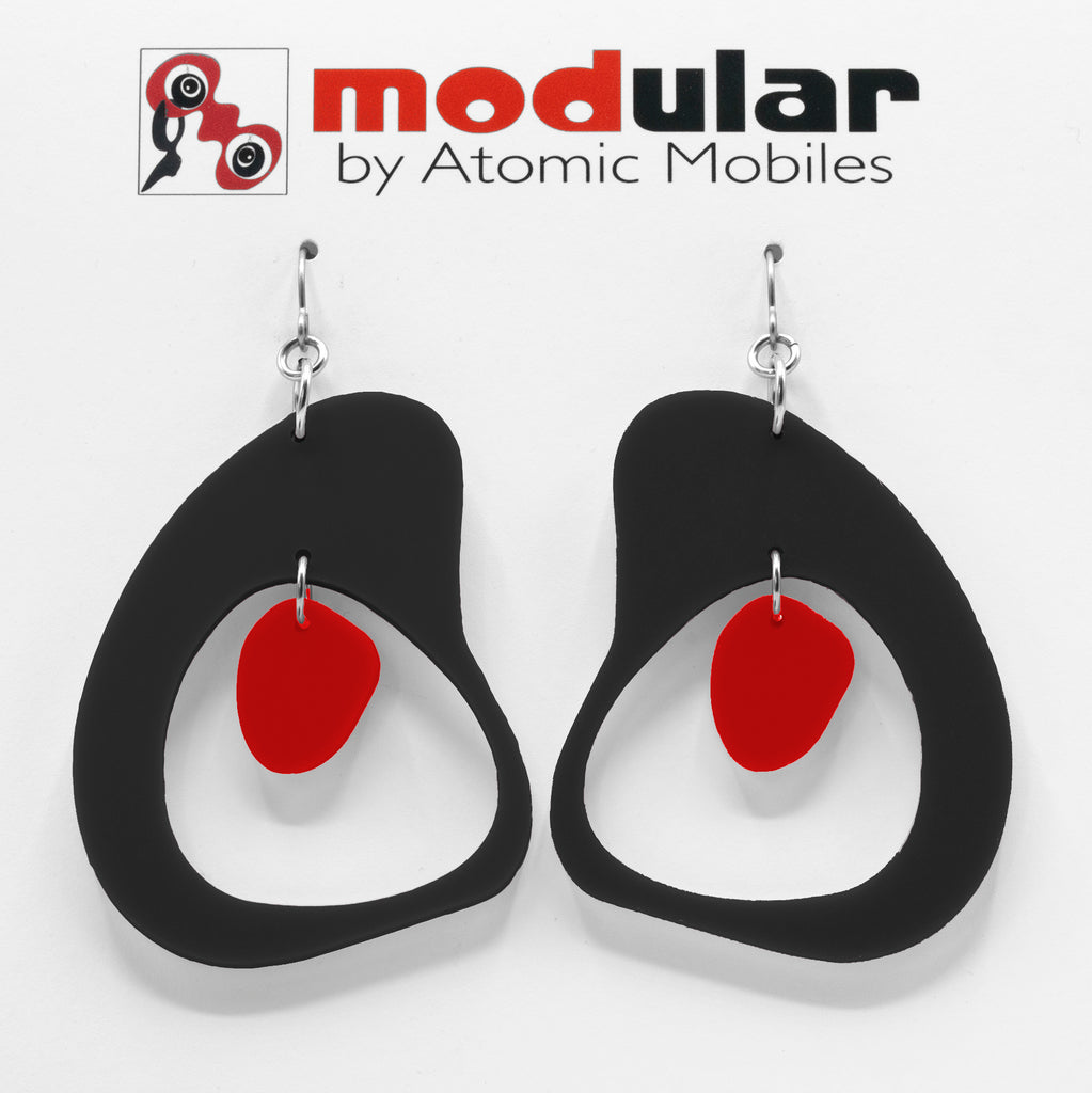 MODular Earrings - Boomerang Statement Earrings in Black and Red by AtomicMobiles.com - retro era inspired mod handmade jewelry
