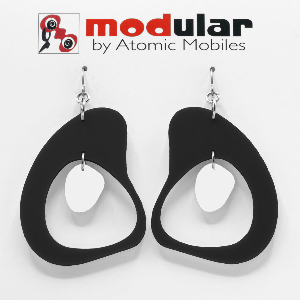 MODular Earrings - Boomerang Statement Earrings in Black and White by AtomicMobiles.com - retro era inspired mod handmade jewelry