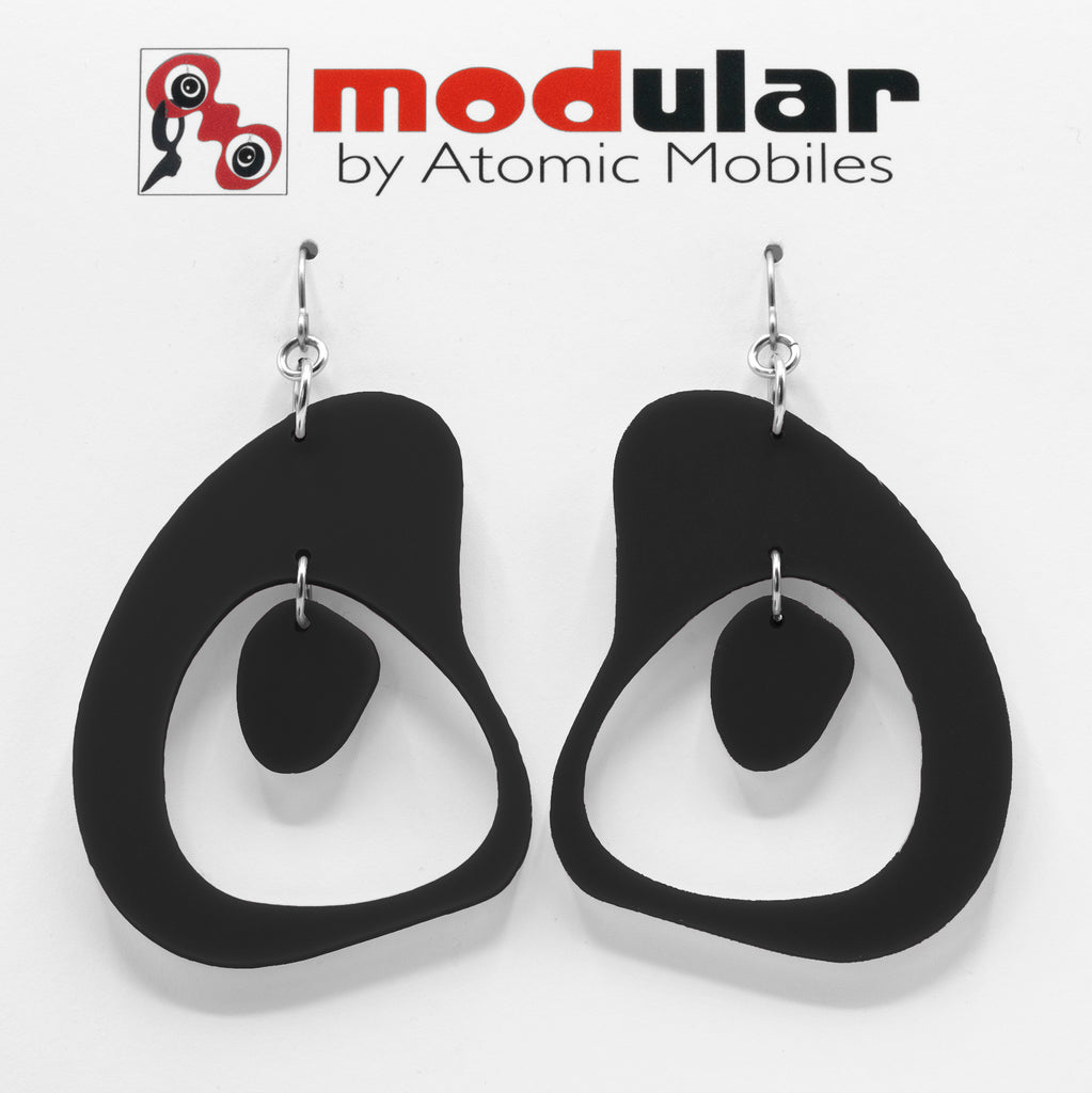 MODular Earrings - Boomerang Statement Earrings in Black by AtomicMobiles.com - retro era inspired mod handmade jewelry